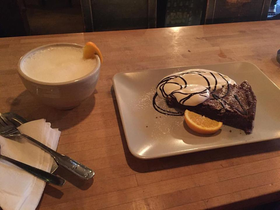 The white hot chocolate and the chocolate cake... Is there anything better than this?