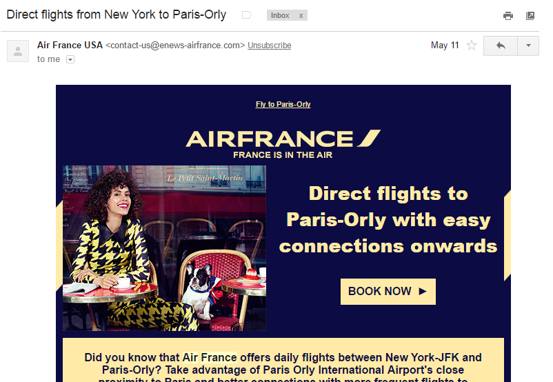 Newsletter Air France - Pasajes Aéreos Baratos - Traveleira.com